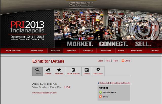 Visit ANZE Suspension at the PRI Trade Show Booth # 1138