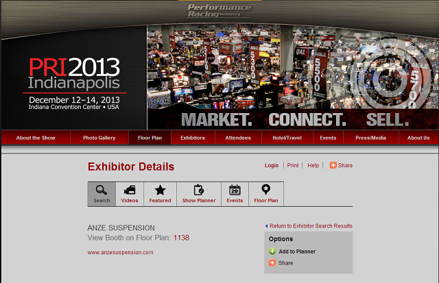 Visit ANZE Suspension at the PRI Trade Show Booth # 1138